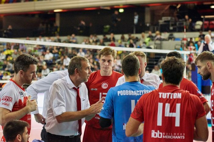 head coach Vangelis Koutouleas coaching at Volleyball Champions League in London in 2019